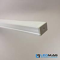 Профиль для светодиодной ленты накладной 30х20 мм (под две LED ленты) с матовым рассеивателем, фото 1
