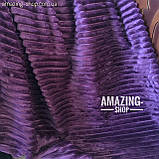Покрывало-плед велюровое полоска, шарпей. Размер - Евро Макси 220*240 см. Цвет - Баклажанный, фото 5