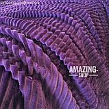 Покрывало-плед велюровое полоска, шарпей. Размер - Евро Макси 220*240 см. Цвет - Баклажанный, фото 7