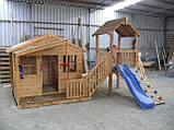 Уличная спортивная площадка с игровым домиком и горкой, фото 3