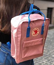 Городской женский рюкзак Канкен Fjallraven Kanken pink blue.  Живое фото. Premium (Реплика ААА+)