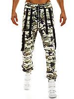 Штаны мужские - Джогеры (с веревками) светлый камуфляж