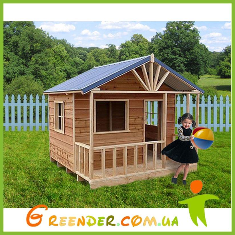 Детский домик с террасой уличный деревянный комплекс