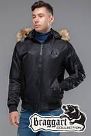 Мужская черная демисезонная куртка с мехом KIRO TOKAO  (р. 48-54) арт. 46575 черный