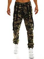 Штаны мужские - Джогеры (с веревками) зеленый камуфляж