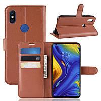 Чехол Luxury для Xiaomi Mi Mix 3 книжка коричневый