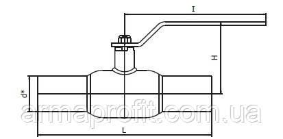 Кран шаровый стальной стандартнопроходной приварной INTERVAL Ду40 Ру40