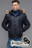 Мужская темно-синяя демисезонная куртка с мехом KIRO TOKAO  (р. 48-54) арт. 46575 темно-синий
