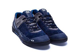 Мужские кожаные кроссовки в стиле Salomon Blue Trend темно-синие, фото 3