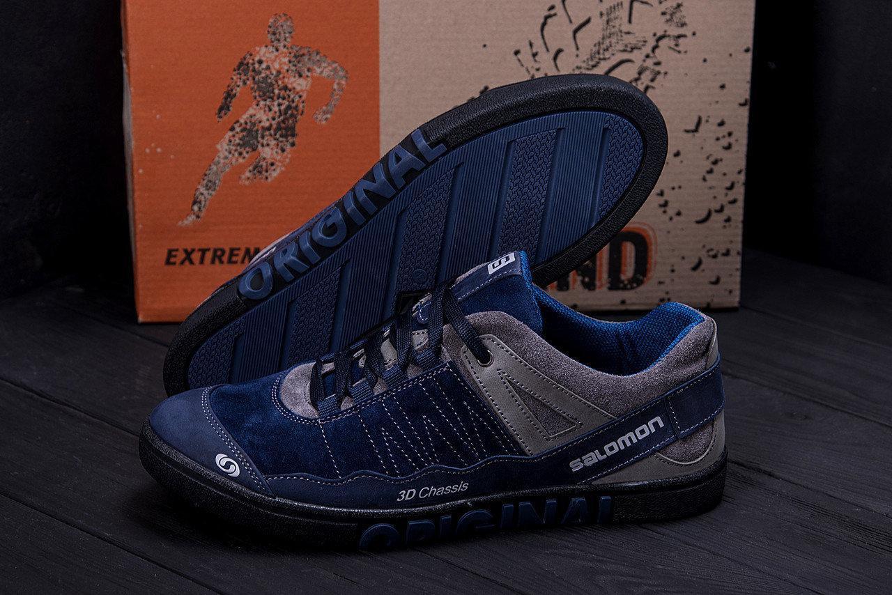 Мужские кожаные кроссовки в стиле Salomon Blue Trend темно-синие