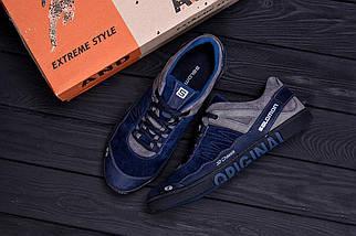 Мужские кожаные кроссовки в стиле Salomon Blue Trend темно-синие, фото 2