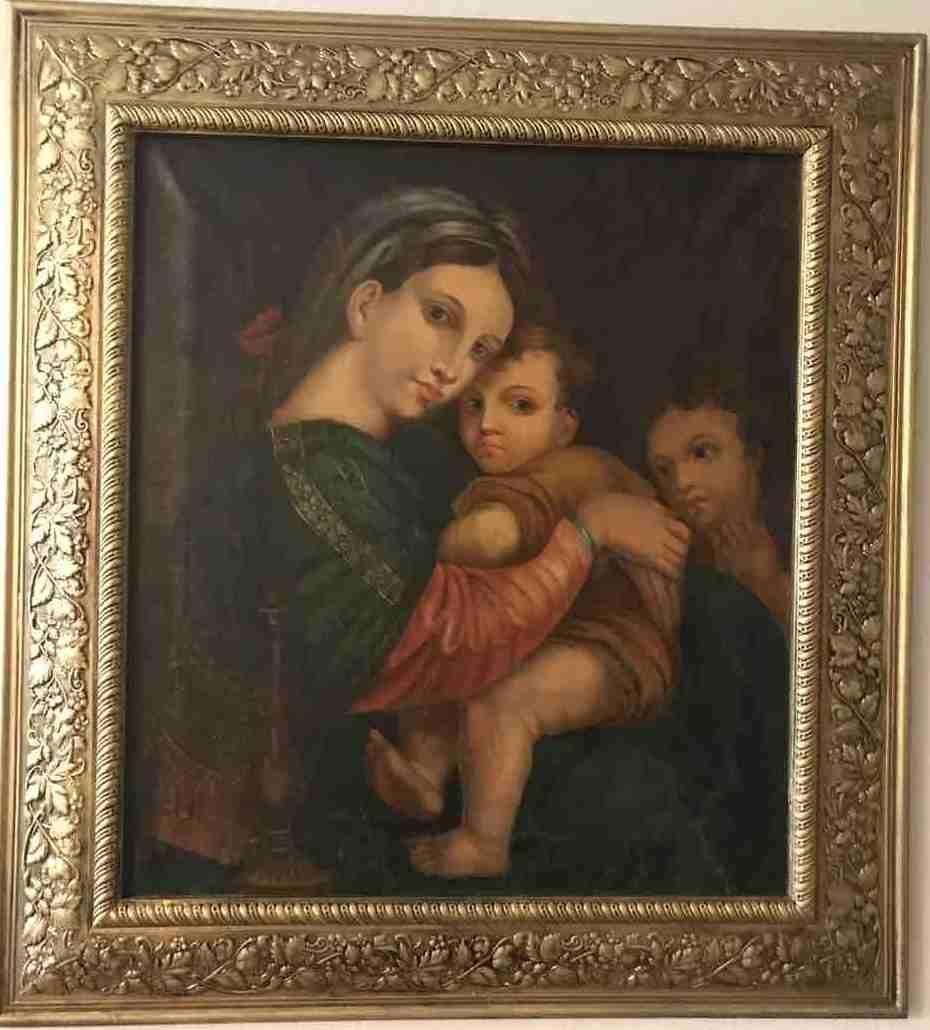 Картина Богородица с Иисусом и Иоанном крестителем 19 век