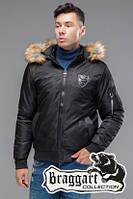 Черная демисезонная куртка с мехом KIRO TOKAO  (р. 48-54) арт. 50145