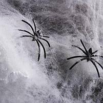Павутиння декоративне на Хелловін, біле, Паутина с паучками на хэллоуин 20г, фото 4