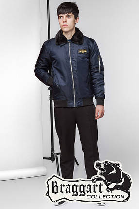 Стильная мужская демисезонная куртка (р. 46-56) арт. 52121 синий, фото 2