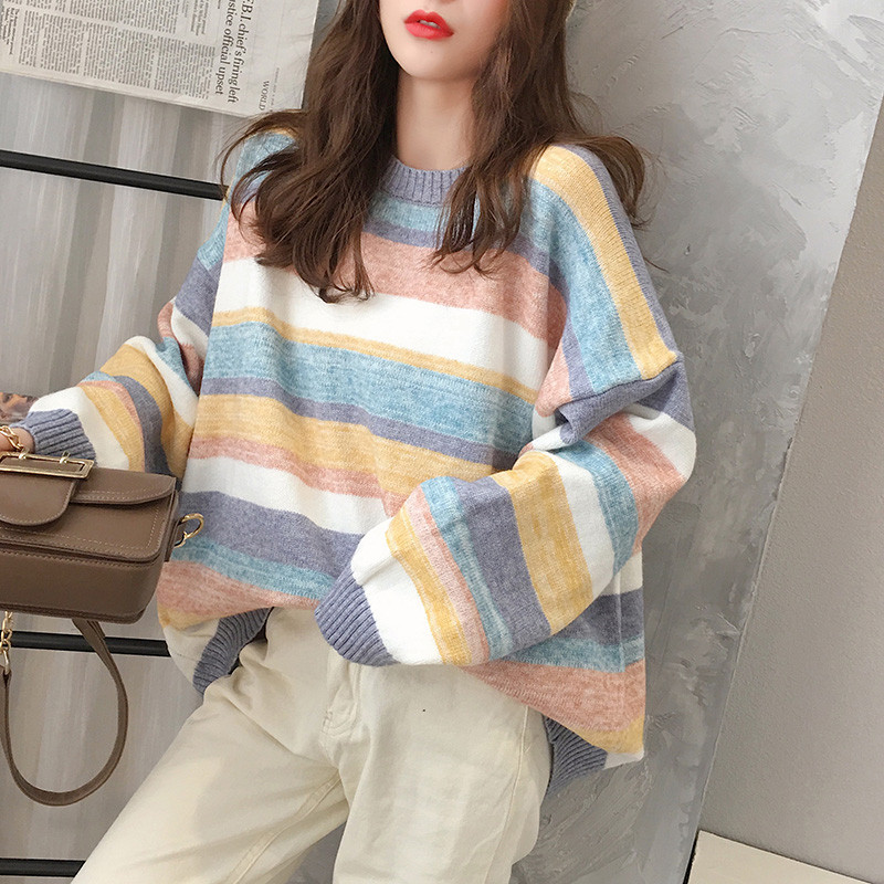 Полосатый стильный свитер 44-50 (в расцветках)