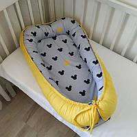 Кокон для новорожденных двухсторонний микки на сером и желтое