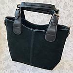 Женская сумка c косметичкой замш черная  (1080), фото 6