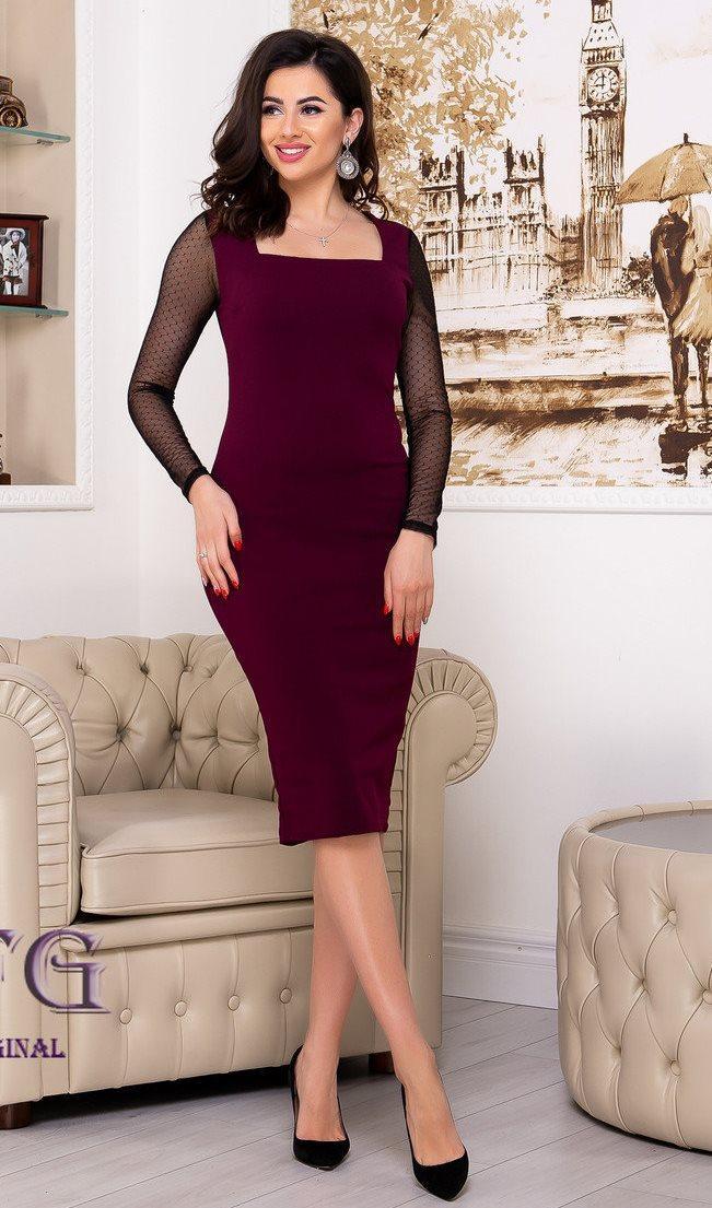 Облегающее платье с рукавом сеточка