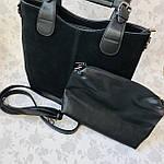 Женская сумка c косметичкой замш черная  (1080), фото 8