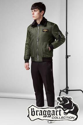 Стильная мужская осенняя куртка (р. 46-56) арт. 52121 хаки, фото 2
