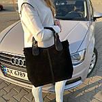 Женская сумка c косметичкой замш черная  (1080), фото 2