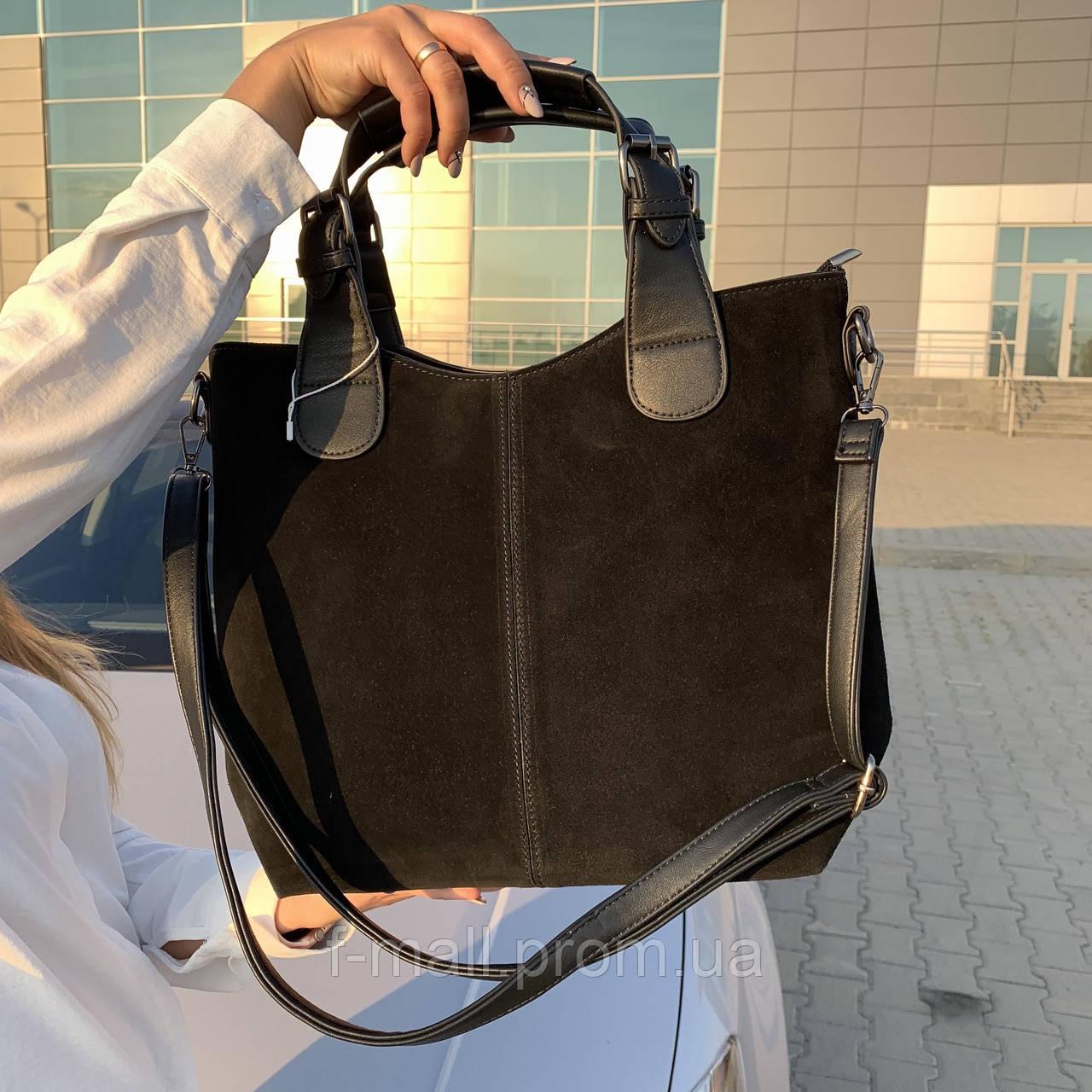 Женская сумка c косметичкой замш черная  (1080)