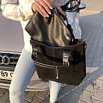 Женская сумка c косметичкой замш черная  (1080), фото 4