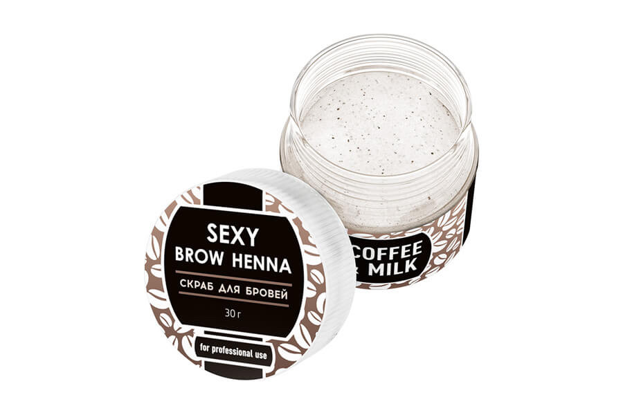 Скраб для брів SEXY BROW HENNA скраб для брів з запахом молока і кави