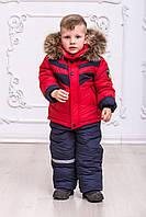 Зимний комбинезон для мальчика Стрела красного цвета 92,98,104,110см Куртка и полукомбинезон