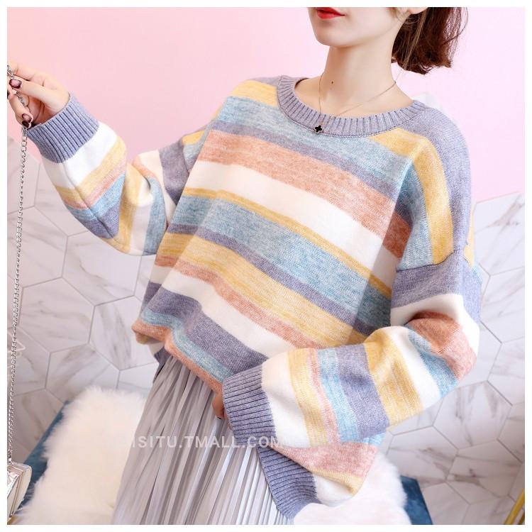 Теплый свитер женский в полоску 44-50 (в расцветках)