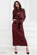 Демисезонное платье с длинной юбкой двумя прорезными карманами цвет синий, фото 3