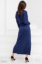Демисезонное платье с длинной юбкой двумя прорезными карманами цвет синий, фото 2