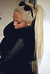 Искусственный накладной хвост на ленте. Цвет #60 Холодный Блонд, фото 3