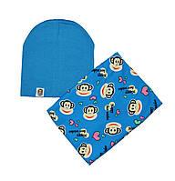 Комплект шапка трикотажная двойная и шарф-снуд флисовый