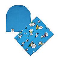 Комплект шапка трикотажная двойная и шарф-снуд флисовый собачки