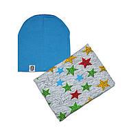 Комплект шапка трикотажная двойная и шарф-снуд флисовый с рисунком