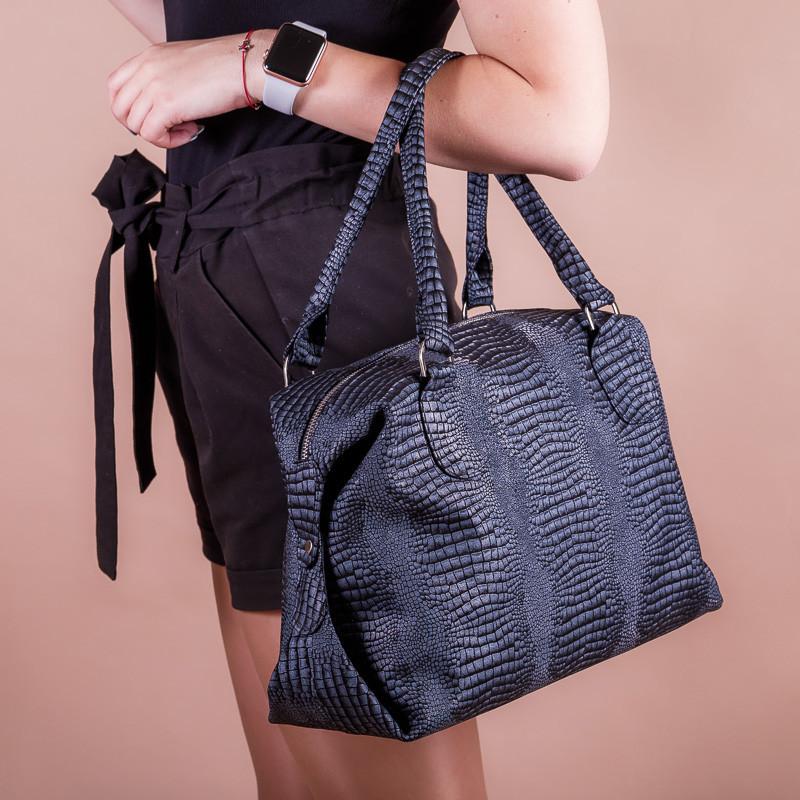Вместительная синяя женская кожаная сумка с двумя ручками, на молнии, цвет любой на выбор