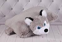Подушка-складушка собака Хаски, плюшевая подушка, мягкая детская подушка в виде Хаски