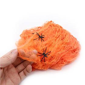 Павутиння декоративне, помаранчеве на Хелловін, Паутина с паучками на хэллоуин