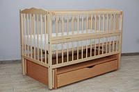 """Ліжко дитяче шарнір-підшипник, бук, шухляда, відкидна бок.""""Матвійко-8"""" ТМ""""Babybrok"""""""