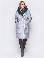 Двухсторонняя женская куртка пуховик одеяло на кнопках play оверсайз S 44  серая синяя UAJJ022_10