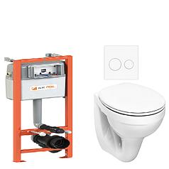 Инсталляция KK-POL монтажный комплект для подвесного унитаза в туалет ECONOMIC, с клавишей. 3 в 1