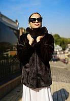 Шуба норковая, классика, со стойкой воротом, Scanblack. . Модель 200201967, фото 1