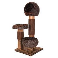 Игровой комплекс для котов Smoked wood из обожженной древесины