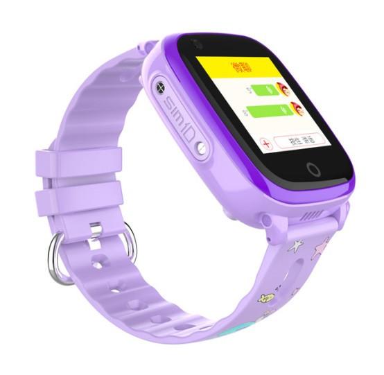 Детские Умные часы с GPS видеозвонком и 4G DF33 фиолетовые