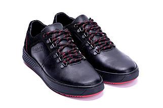 Мужские кожаные кроссовки в стиле ZG Aircross Black and Red черные, фото 3