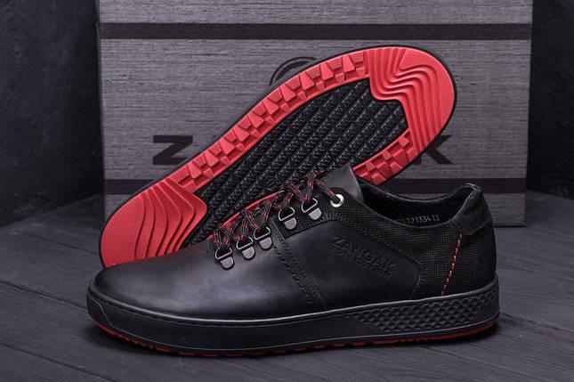 Мужские кожаные кроссовки в стиле ZG Aircross Black and Red черные, фото 2