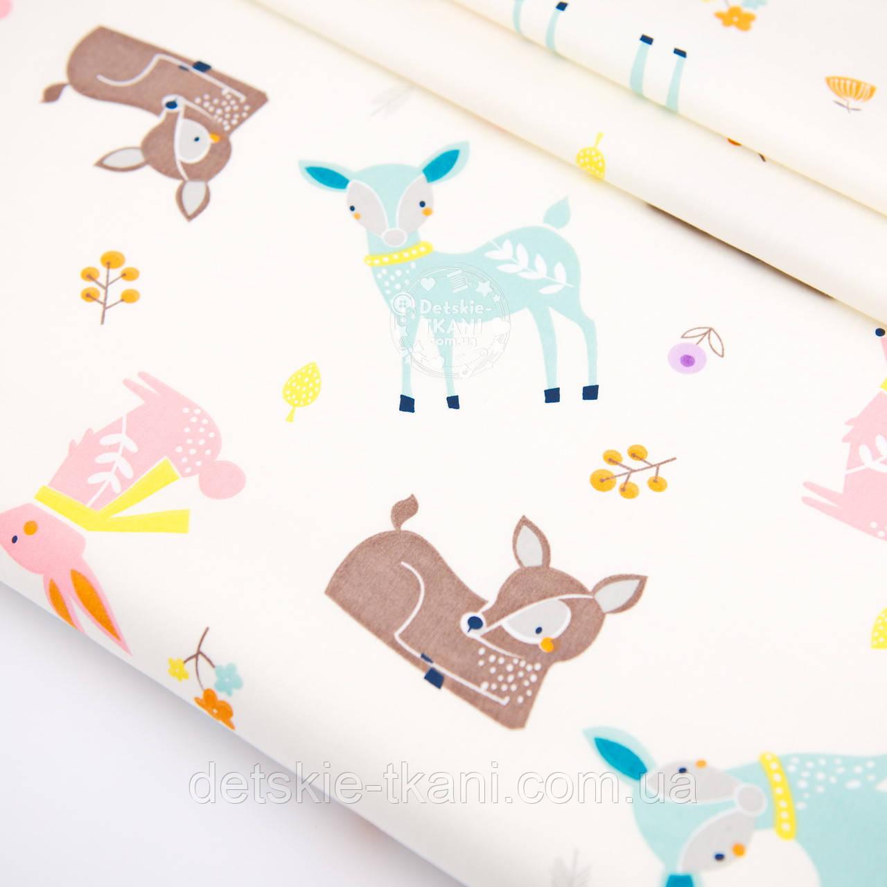 """Сатин ткань """"Бемби и розовые зайцы"""" на молочном № 2455с"""