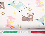 """Сатин ткань """"Бемби и розовые зайцы"""" на молочном № 2455с, фото 2"""